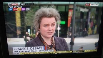 Public Speaking Coach Georgina Kirk being interviewed on Sky News